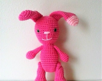 SALE! Large Amigurumi Bunny with Jointed Legs-Perfectly Pink Rabbit Doll - WAS 20.00 USD