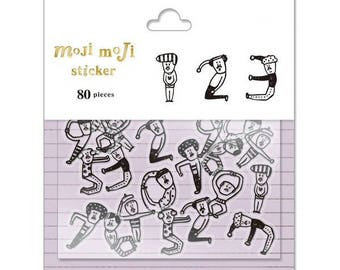 Moji Moji Number Flake Stickers - No. 0-9 (80 pcs)