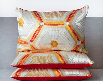 Silver Kimono Cushion, Gold Embroidery Pillow, Red Silk Accent Pillow, Upcycled Japanese Obi, Luxury Designer Cushions Metallic Throw Pillow