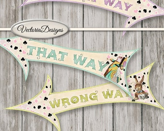 Alice in Wonderland Party Arrows Large decor printable craft art hobby crafting instant download digital collage sheet - VDMIAL1502