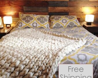 Merino Wool Blanket, FREE SHIPPING, chunky knit blanket, super bulky blanket, super chunky blanket, chunky wool blanket, chunky blanket