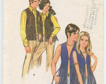 1960's Butterick 5633 Men's Fringed Vest Vintage Sewing Pattern Chest 38-40 UNCUT