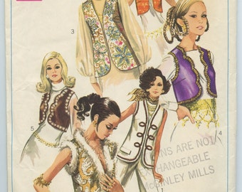 1960's Simplicity 8143 Misse's Boho Hippie V Neck Vests Scalloped Edge, Soutache Trimmed, Rhinestone Trimmed, Vintage Sewing Pattern Bust 34