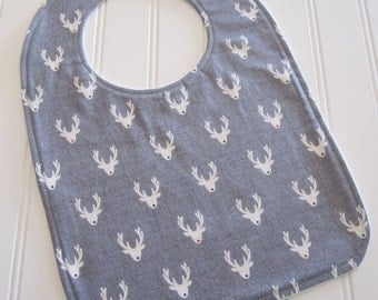 Toddler Bib/12-24 mo./Antlers in Gray/Organic Fleece Back