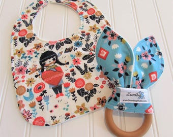 SWEET NATURALS/Organic Line/Newborn Gift Set/Infant Bib & Teether/Wildland(Organic)/Organic Fleece Backing