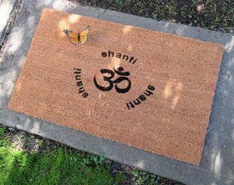 Om Shanti Shanti Shanti hand-painted welcome natural coir outdoor doormat - housewarming gift -beach house -gift for her -yoga/peace doormat