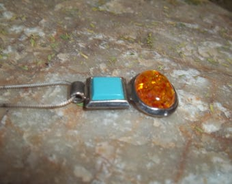 Turquoise and Amber Geometric Shaped Sterling Silver 925 Large Pendant
