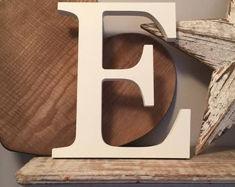 Painted Wooden Letter E - Large , Georgia Font, 50cm high, almost 20 inch, any colour, wall letter, wall decor, 18mm, price per letter