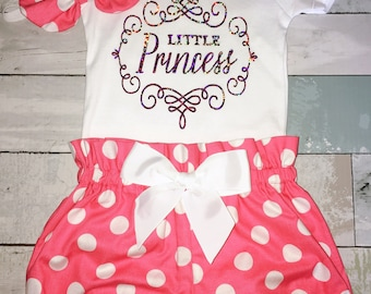 Little Princess Onesie, 1st Birthday Onesie, Sparkly Holographic ,Knot Bow Headband, Complete Baby or Toddler Set, Pink and Gold Polka Dots