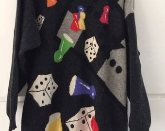 Vintage Betty Barclay lambswool sweater with dices and pawns, size L
