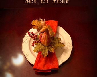 ON SALE Set of Four Thanksgiving Table Napkin Rings Fall Berry Napkin Rings Autumn Table Fall Floral Arrangement Centerpiece Rustic Fall Hom