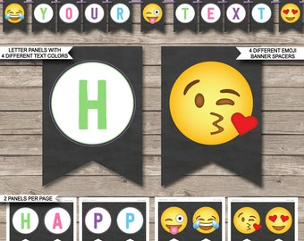 Emoji Birthday Banner - Happy Birthday Banner - Printable Custom Banner - Party Decorations - INSTANT DOWNLOAD with EDITABLE text