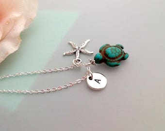 Personalized Turtle Necklace, personalized Initial jewelry, turquoise turtle necklace, initial necklace, ocean necklace, mother's gift
