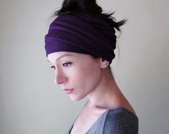 EGGPLANT Head Scarf - Purple Hair Wrap - Yoga Headband - Extra Wide Jersey Headband - Womens Hair Accessories - Bohemian Violet Head Wrap
