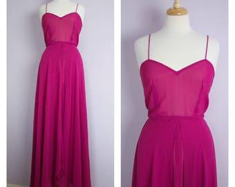 Vintage 1970's Fuchsia Disco Maxi Dress S/M