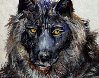 """BLACK WOLF original acrylic painting on 8"""" x 10"""" stretched canvas. Animal art, wildlife painting, figurative, home deor, wall art"""