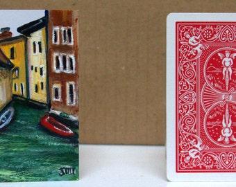 "Italian Landscape Original painting on 2.5"" x 3.5"" ACEO card stock. mini acrylic painting, Mini Landscape art, Table art, ACEO Landscape"