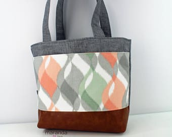Lulu Large Tote Diaper Bag Grey Denim with Finley Coral Pocket and PU Leather  READY to SHIP