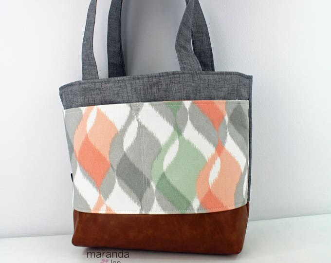 Lulu Large Tote - Grey Denim  with Finley Coral Pocket