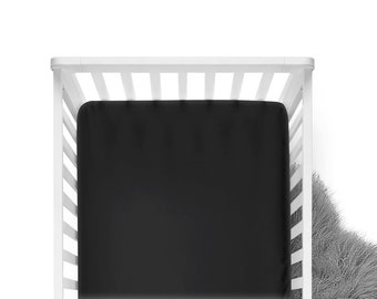 Fitted Crib Sheet - Black - Solid Crib Sheet - Flat Crib Sheet - Crib Sheet - Toddler Sheet - Baby Sheet -Solid Black Fitted Sheet-Bedding