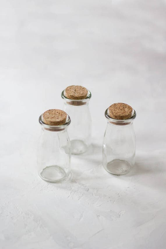 glass small bottles jars with cork lids 3 pc from anastasiamarieshop on etsy studio. Black Bedroom Furniture Sets. Home Design Ideas