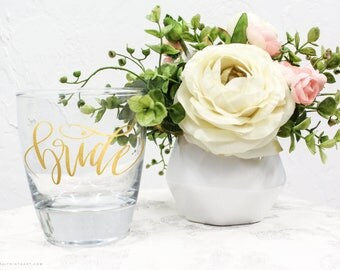 Bride Glass - Vinyl design on Clear Glass