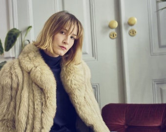 Cream 1960s Artic Fox Fur Coat