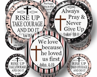 CHRISTIAN,  Bottle Cap Images, 1 Inch circle, Digital Collage Sheet, Instant Digital Download, Religious, Scripture, Bible Verse, (No.17-1)