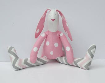 Stuffed bunny rabbit hare plush bunny doll pink white grey polka dot and chevron softie stuffed toy Easter bunny birthday gift kids