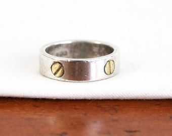 Bolt Screw Ring Band Vintage Mexican Mixed Metal Size 6 Sterling Silver and Brass Industrial Jewelry