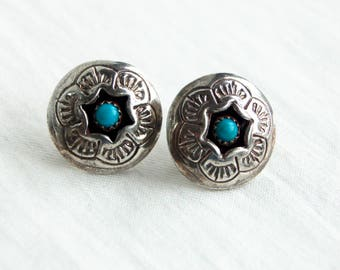 Turquoise Concho Earrings Vintage Southwestern Shadow Box Posts Studs Native American Discs Shadowbox Conchos