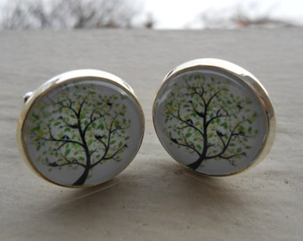 Tree Cufflinks. CHOOSE Your CUFFLINK COLOR. Wedding, Men's Christmas Gift, Dad, Groom, Groomsmen Gift.