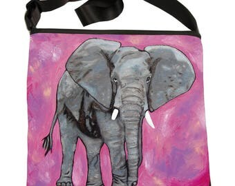 Elephant Small Cross Body Handbag, Bucket Bag by Salvador Kitti - From My Painting, Kelly - Support Wildlife Conservation, Read How