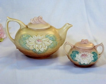 Vintage Water Lily Tea Pot & Covered Sugar by Hull Art Pottery Yellow Tan and Pinks L-18-G