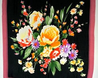 Vintage Silk Scarf Foulard, Laura Ashley, Brilliant Bouquet with Rose Chiffon Border