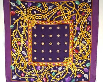 Vintage Silk Scarf Foulard, Elizabeth Taylor, Purple with Gold and Jewels