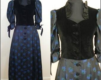VINTAGE Bohemian Rose Dirndl Black Velvet Floral Dress UK 14 EU 42 German Austrian / Party