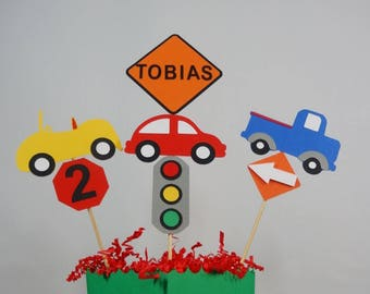 Cars Birthday Centerpieces, Cake Topper, Transportation Party Decor