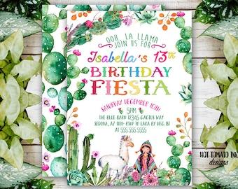 Fiesta Invitation-Fiesta Birthday invitation-Mexican Invitation-ooh la Llama-Alpaca-Cactus Succulent-Fiesta-Cinco de Mayo-Digital Printable