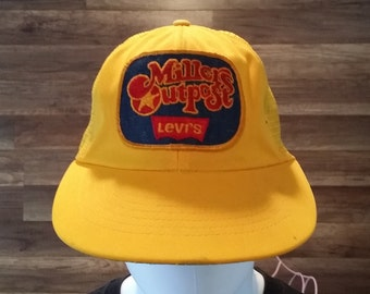 Vintage Millers Outpost Levis Snapback Hat Trucker Mesh Cap Yellow Patch AHS *eb