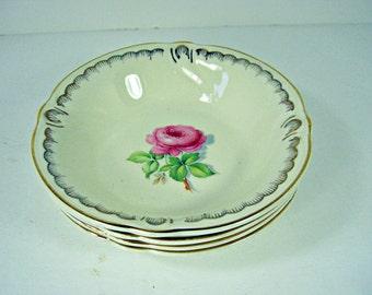 Vintage PINK ROSE Dessert BOWL Set/4 Berry Fruit Sauce Bowls Roses Taylor Smith Circa 1942