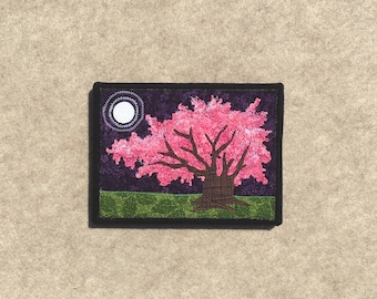 Cherry Tree in the Moonlight, 6x8 inch canvas, sewn fabric art, sewn on a 1968 Singer, all recycled fabrics, ready to hang canvas