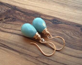 Aqua earrings - Turquoise earrings - Gold earrings - Simple Earrings - Wire wrapped - Gold drop earrings - Light Blue Earrings