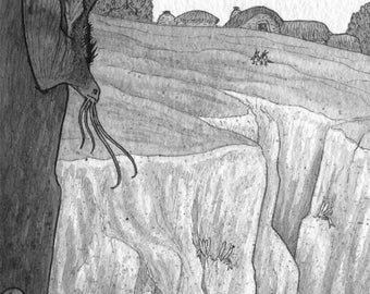 Inktober Painting - Flying Cliff Fish