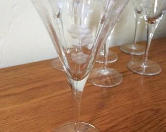 Vintage Crystal Etched Wine / Champagne Glasses Set of 6 Optic Paneled Flower Floral Stemware Vintage Barware