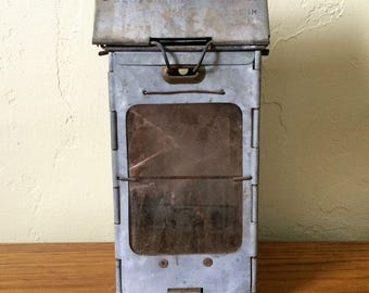 Vintage Stonebridge Folding Lantern Patent 1908 WWI Trench Lantern Mica / Isinglass Galvanized