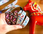 Swedish Dala Horse Embroidered Ribbon-1 Foot-White, Blue, Red-Orange Trim-Sweden-Dalahasten-Scandinavian Woven Ribbon-Folk Horse Winter Trim