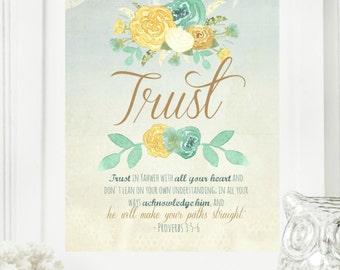 "Instant 8x10 ""Trust - Proverbs 3:5-6"" Floral Digital Wall Art Print | Modern Christian Art | Scripture Print | Digital Download"