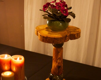 Aspen, and marble plant stand - Candle platform - Modern rustic - Log decor - Rustic furniture