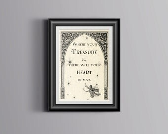 Harry Potter Quote Wall Art Print Printable digital instant download where your treasure is there will your heart be also